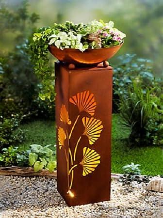 Pflanzsäule Mit Beleuchtung Säule Pflanzschale Rost Design Garten Dekoration  NEU