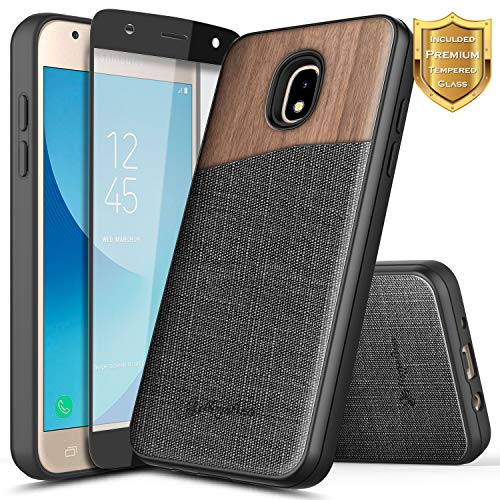 Galaxy J3 Star Case, J3 Achieve/ J3 Orbit/Amp Prime 3 /J3 V 3rd Gen/Express Prime 3 w/[Tempered Glass Screen Protector], NageBee Premium Natural Wood Shockproof Case for Samsung J3 2018 -Wood
