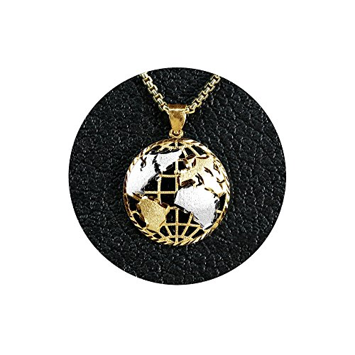 - LOVEBLING 10K Yellow Gold Two Toned World Map Globe Charm Necklace Pendant (1.40
