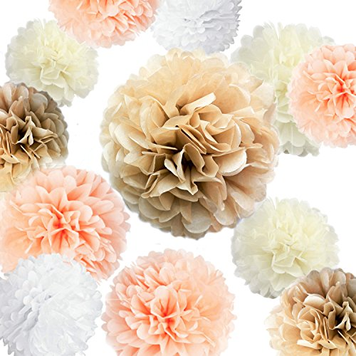 VIDAL CRAFTS 20 Pcs Party Tissue Paper Pom Poms Kit (14, 10, 8, 6 Paper Flowers) for Wedding, Birthday, Baby Shower, Bachelorette, Nursery Decor - Champagne, Peach, Ivory, White