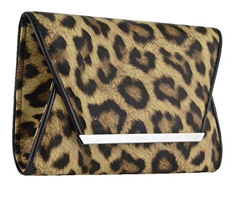 Eye Catch - Womens Animal Print Faux Leather Cross Body Clutch Bag Designer - Hobo Print Animal