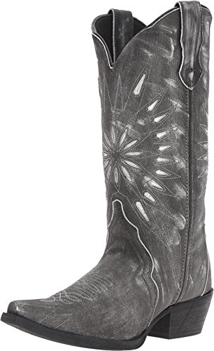 Laredo Womens Black Starburst Leather Cowboy Boots 12in Cutout 9.5 M