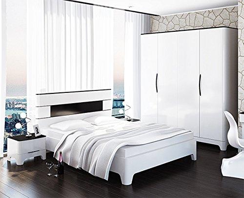Schlafzimmer komplett 4-teilig 6546 schwarz / weiß Hochglanz ...