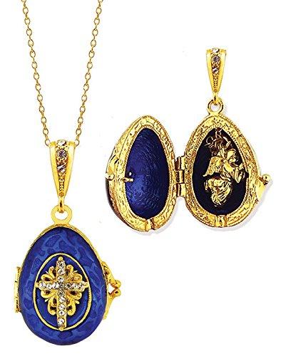 Enameled Pendant Angel (Alex-Intl Gold Plated Sterling Silver Blue Enamel Egg Locket Pendant with Surprise Angel, 1 1/4 Inch)