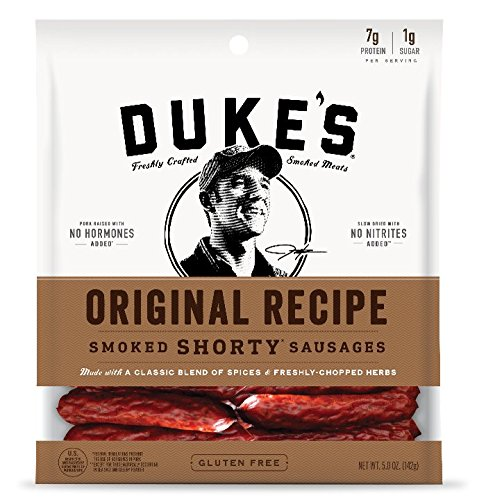 Dukes Hot-n-Spicy Shorty Smoked Sausages, 5-Ounce Bag (Pack of 8) - Packaging May Vary
