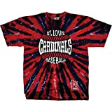 Liquid Blue Unisex Adult MLB Burst Tie-Dye T-Shirt - Short Sleeve - ST. Louis Cardinals