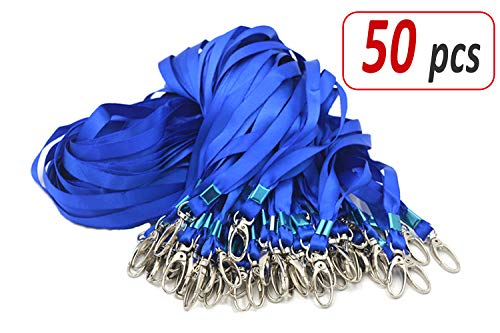 Aobear 50pcs 32 inch Top Quality Blue Lanyard with Badge Clip -