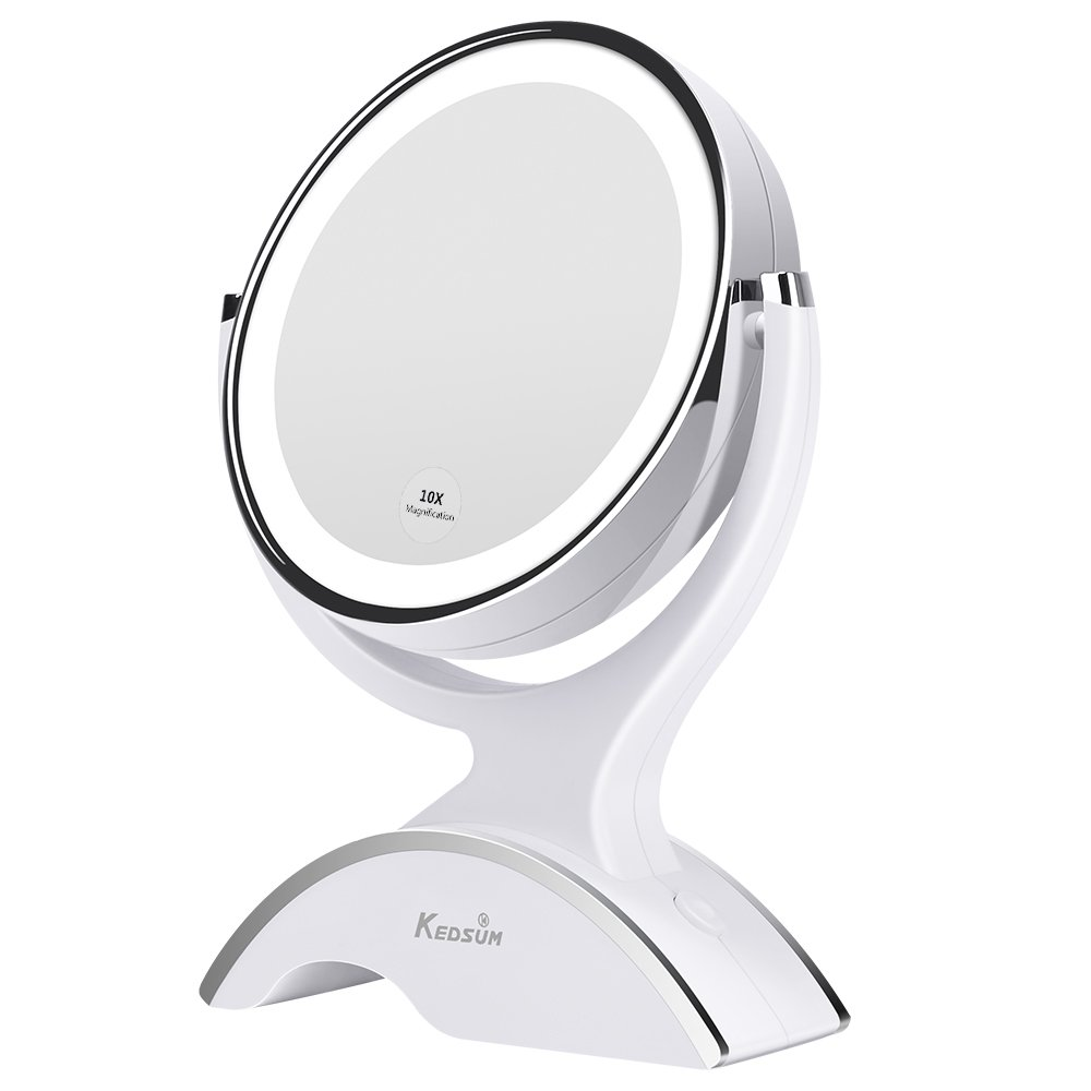 KEDSUM 6.7 inch 1X/10X Double-sided Lighted Makeup Mirror, 360 Degree Swivel Vanity Mirror, Cosmetic Regular/Magnifying Mirror with lights, Batteries Powered, One Button Control