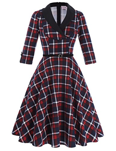 Belle-Poque-Womens-Plaid-50s-Vintage-Swing-Dress-Party-Cocktail-with-34-Sleeve