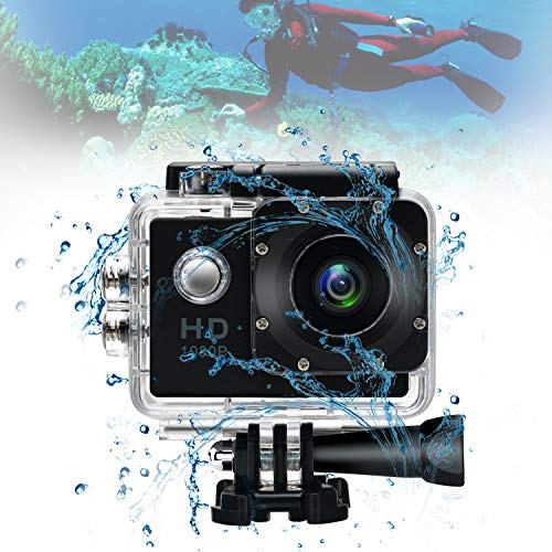 Sports Action Camera Video Camera Waterproof,30M Underwater Action Cameras Waterproof Camcorder with Helmet Mount Accessories