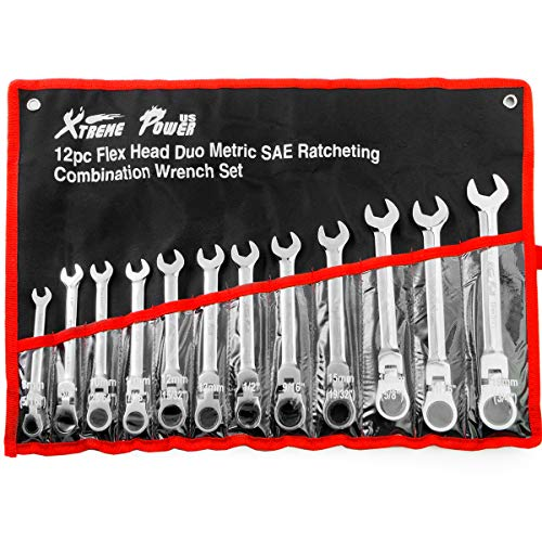 12pcs Flex-Head Combination Wrench Set Ratcheting Duo Metric SAE