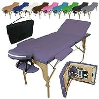 Vivezen Table de massage pliante 3 zones en bois avec panneau Reiki + Accessoires et housse de transport - 10 coloris - Norme CE - Violet