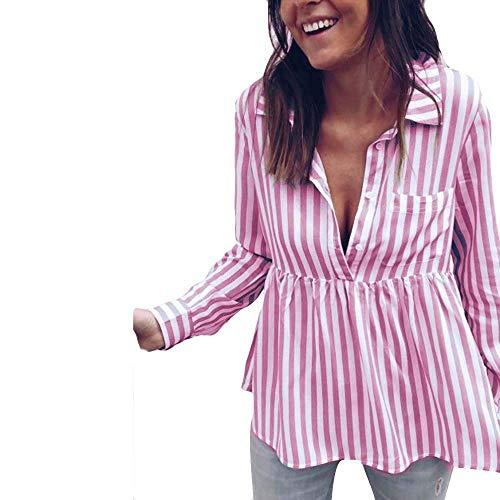 Manches Dames Haut Simple Blouse Rayures Rosa Femme Automne Longues Vintage Mode 2 Chemisier Large Blouse Chic Tops Elgante Dsinvolte Printemps Boutonnage Chemise Revers OHHqPR