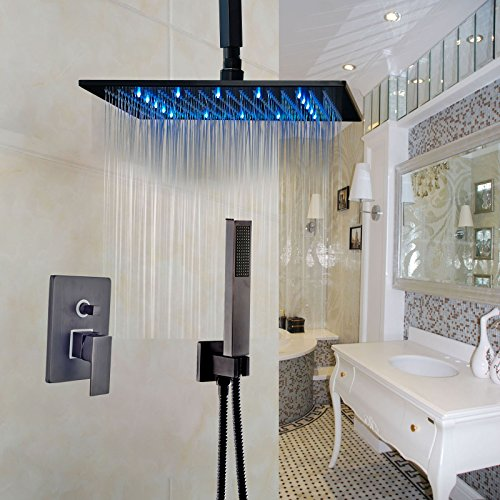 rozin ceiling mount led color 16inch rainfall mixer shower set with hand spray