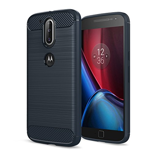 Moto G4 Case, Moto G (4th Generation) Case, Moto G4 Plus Case,[Not fit G4 Play],AnoKe Slim Carbon Fiber Shock Absorption Soft TPU Drawing Grip Phone Cases For Motorola Moto G Plus(2016)HWLS Blue - Fibre Case