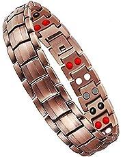 Jeracol Koper Magnetische Armband Koper Armbanden voor Artritis Mannen Pijnverlichting met Gezondheid 4 Element Magneten Doule Rij Koper Magnetische Therapie Armband met Verwijderen Tool Geschenkdoos
