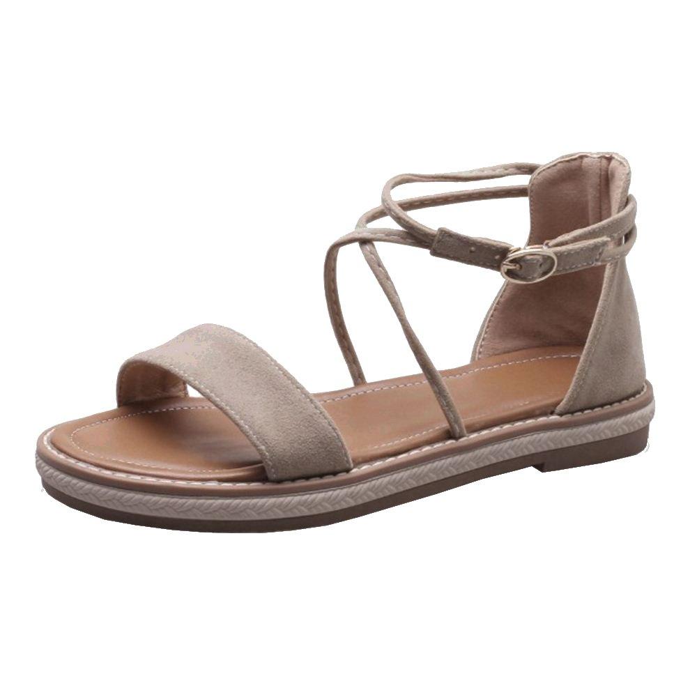 TAOFFEN Damen Sandalen Sandaletten Schuhe Flach  40.5 EU|Apricot