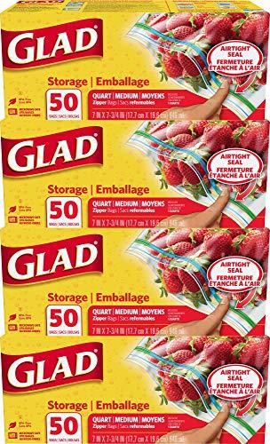 Glad Zipper Food Storage Plastic Bags - Quart - 50 Count - 4 Pack