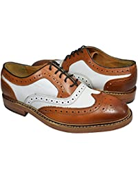 Tan White Wing Tip Spectators 100% Leather