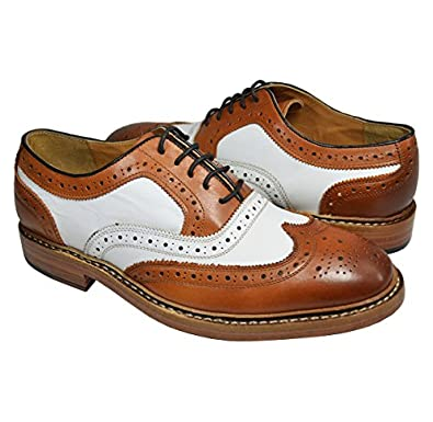 1940s Style Mens Shoes Tan and White Wing Tip Spectators by Paul Malone . 100% Leather  AT vintagedancer.com