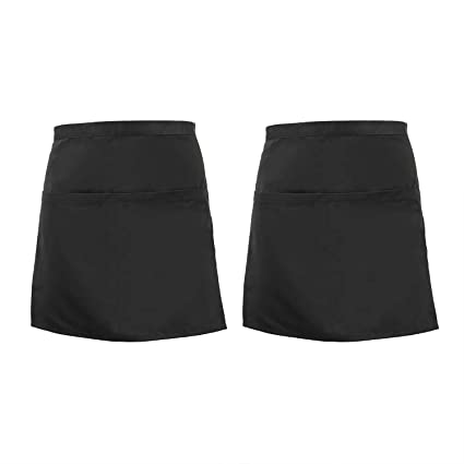 3-PACK Dickies Unisex Full Bistro Waist Apron with 2 Pockets Black//White Stripe