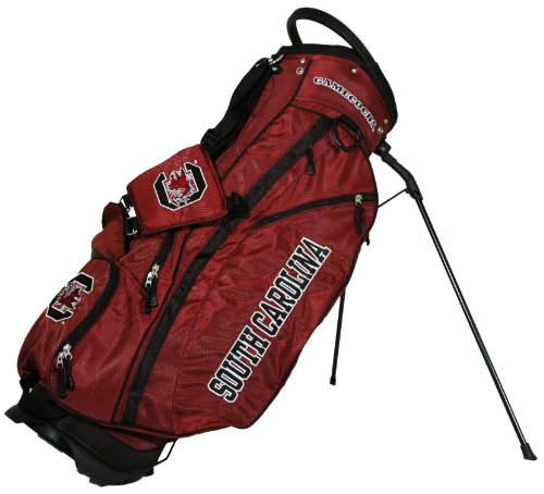(Team Golf NCAA South Carolina Gamecocks Fairway Golf Stand Bag, Lightweight, 14-way Top, Spring Action Stand, Insulated Cooler Pocket, Padded Strap, Umbrella Holder & Removable Rain Hood)