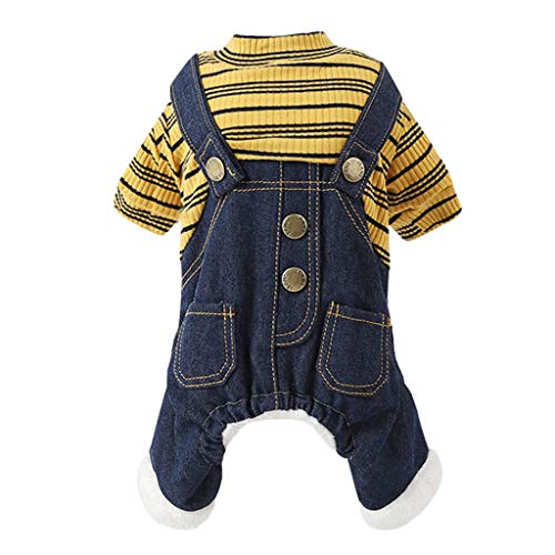 (Doublelift Pet Clothes Dog Jeans Jumpsuits Knit Sweater One-Piece Cool Blue Denim Coat Small Medium Dogs Classic Sweatshirt Puppy Vintage Clothes Romper (M, Yellow) )
