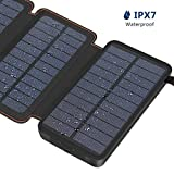 Hiluckey Solar Charger 25000mAh Portable Power Bank with 4 Panels