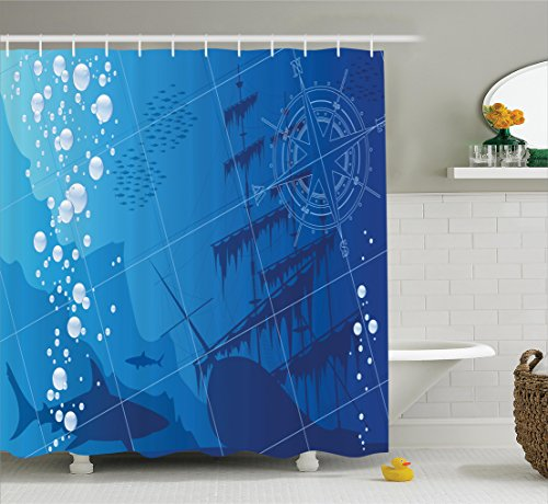 Under The Sea Shower Curtain Underwater Nautical Decor by Ambesonne, Underwater with Sharks Old Ship and Compass Rose Deep Water Bubbles, Fabric Bathroom Shower Curtain Set, 75 Inches Long, Navy Blue