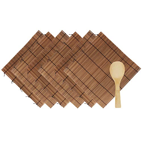 BambooMN 6 Pieces Carbonized Bamboo Sushi Making Rolling Mats 9.5