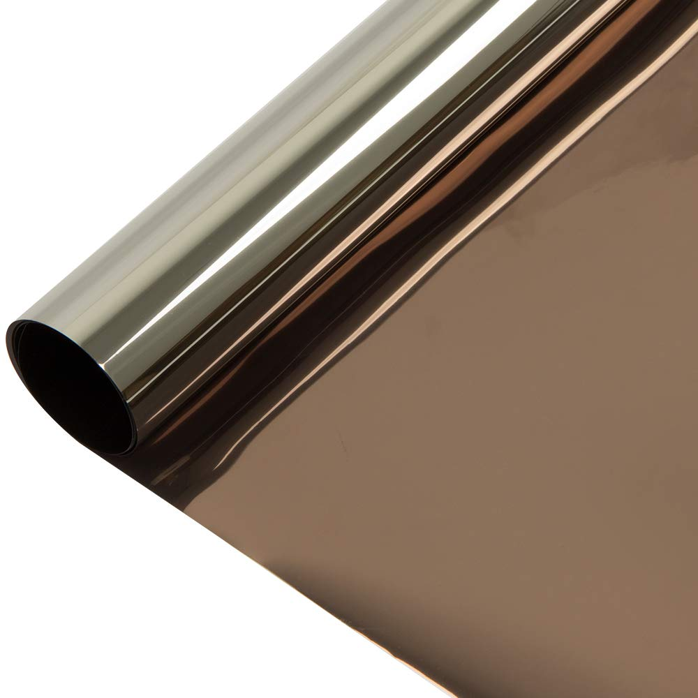 HOHOFILM 36'' x 100ft Roll Bronze Silver Window Film One Way Vision Privacy Protection Residential Glass Tint Self Adhesive Sun Blocking Heat Control