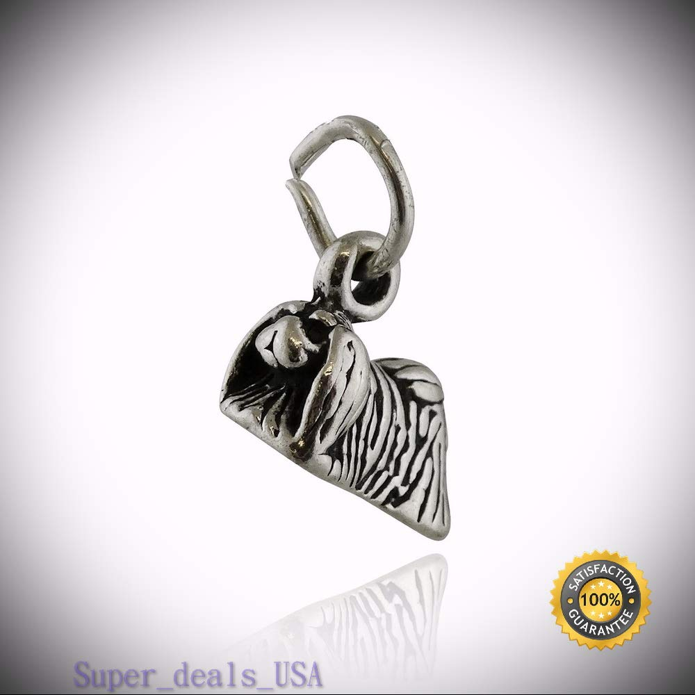 Tiny Pekingese Dog Charm - 925 Sterling Silver - 3D Animal Dogs Pet Peke New DIY Handmade Ornament Crafts by Super_deals_USA