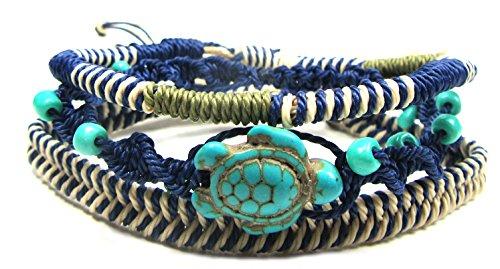 (Exotic & Trendy Jewelry, Books and More Turtle Hemp Bracelet-Black Bracelet with Turtle in Turquoise Color-Hawaiian Sea Turtle Bracelet-Hemp Bracelet)