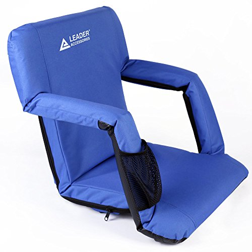Leader Accessories Stadium Seat Cozy Portable Reclining Seat Folding Bleacher Chair with Arm Rest,Royal ()