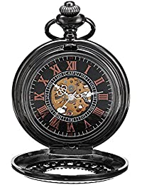 Skeleton Mechanical Pocket Watch Wind Up with Chain Mens Steampunk Pocketwatch Reloj de Bolsillo by ShoppeWatch
