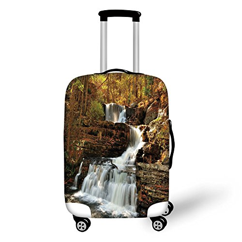 Travel Luggage Cover Suitcase Protector,United States,Upper Falls at Delaware Water Gap Autumn Nature Forest Scenery Cascade,Brown Green White,for Travel