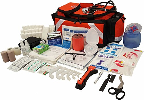 LINE2design First Aid Kit - Emergency Response Tactical Trauma Bag - Elite Paramedic EMS First Responder Medical Complete Rescue Supplies - Orange from LINE2design