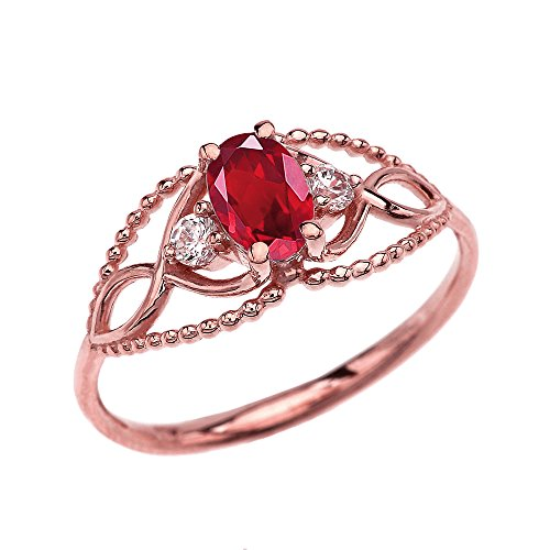 (10k Rose Gold Elegant Beaded Solitaire Ring With Ruby and White Topaz(Size 8.5))