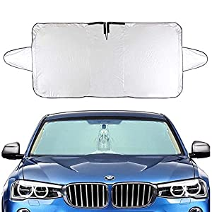 "Felizcoche Windshield Sun Shade Rectangle Rings Silver UV Reflector Universal Fit Inside Use for Summer Reduce Heat,Outside Use for Winter Block Snow 63""x33""With Ear"