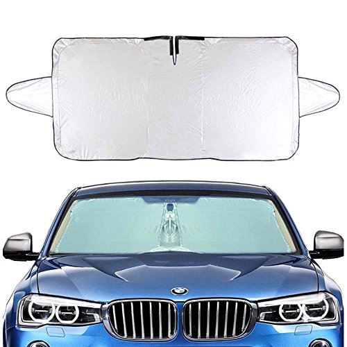 "Silver Windshield (Felizcoche Windshield Sun Shade Rectangle Rings Silver UV Reflector Universal Fit Inside Use for Summer Reduce Heat,Outside Use for Winter Block Snow 63""x33""With Ear)"
