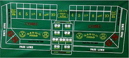 New Casino Craps Green Felt Layout 36'' X 72''