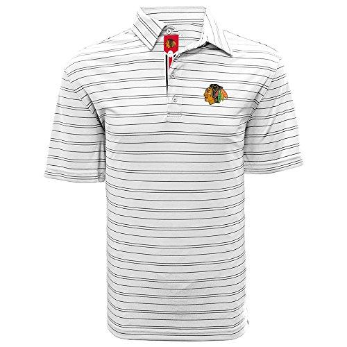 Levelwear LEY9R NHL Chicago Blackhawks Adult Men Deion Banner Stripe Polo, Large, White/Black ()