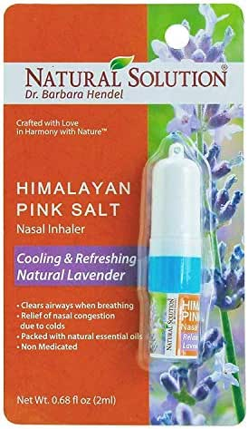 Natural Solution Himalayan Pink Salt Aromatherapy Nasal Inhaler,Cooling & Refreshing, Relaxing Lavender With Natural Essential Oils,Clear Airways When Breathing - 0.68 oz