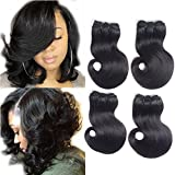 7A Grade 4 Bundles Brazilian Hair Body Wave Short Curly Hair Remy Human Hair Extensions Weave Unprocessed Brazilian Virgin Hair Bundles Double Weft 50g/Bundle Totally 200g (50+/-2g)/pc (8 * 4Pcs)