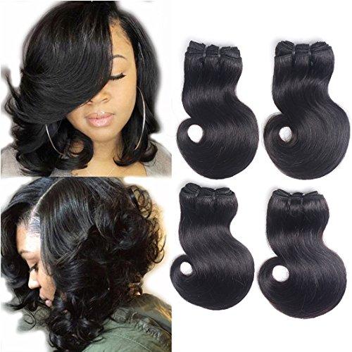 7A Grade 4 Bundles Brazilian Hair Body Wave Short Curly Hair Remy Human Hair Extensions Weave Unprocessed Brazilian Virgin Hair Bundles Double Weft 50g/Bundle Totally 200g (50+/-2g)/pc (8 * 4Pcs)