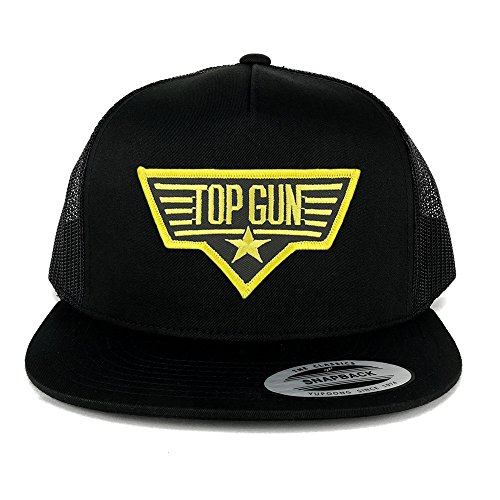 FLEXFIT 5 Panel Top Gun Black Yellow Embroidered Iron On Patch Snapback Mesh Cap - BLACK