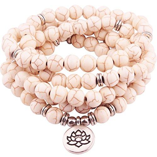GVUSMIL 108 Mala Beads Wrap Bracelet for Yoga Bracelets Mala Beads Bracelet White ()
