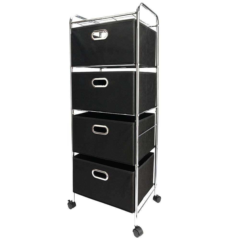 Four-tier Non-woven Fabric Drawer Storage Cart Carbon Steel Pipes