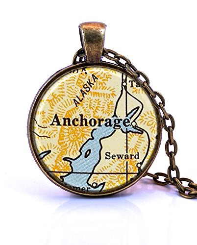 Anchorage, Alaska Map Pendant Necklace by Paper Towns Vintage. Anchorage necklace handmade from a 1958 vintage map. Map necklace includes adjustable chain and gift packaging. Custom jewelry - Glass Anchorage Shops