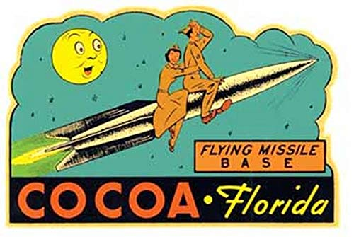Cocoa Florida Flying Missile Base Vintage Travel Decal Sticker Souvenir
